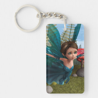 Flying Little Fairy Butterfly Single-Sided Rectangular Acrylic Keychain