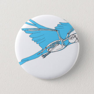Flying macaw skeleton 2 inch round button