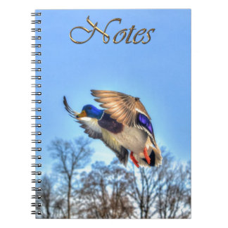 Flying Mallard Duck Drake Wildlife Photo Notebooks