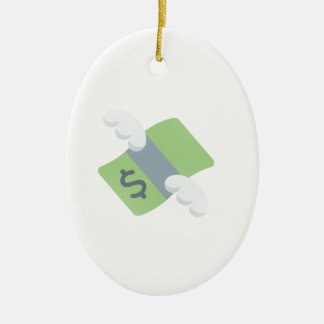 flying money emoji ceramic ornament
