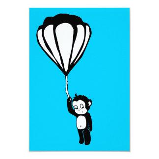 "flying monkey : hot air balloon 3.5"" x 5"" invitation card"