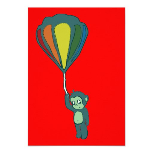 flying monkey : hot air balloon personalized announcement