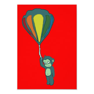 flying monkey : hot air balloon 3.5x5 paper invitation card