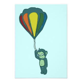 flying monkey hot air balloon personalized invitation