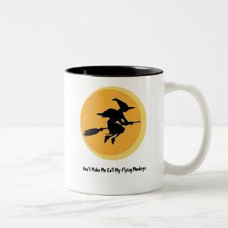 Flying Monkeys Witch (customizable) Two-Tone Coffee Mug