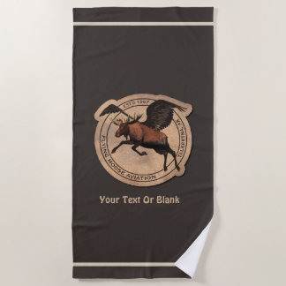 Flying Moose Aviation Patch Beach Towel