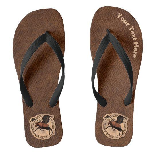 Flying Moose Aviation Patch Flip Flops