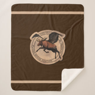 Flying Moose Aviation Patch Sherpa Blanket