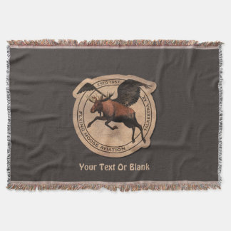 Flying Moose Aviation Patch Throw Blanket