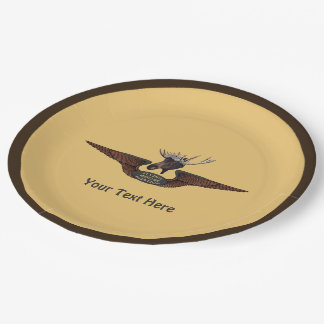 Flying Moose Bush Pilot Wings Paper Plate