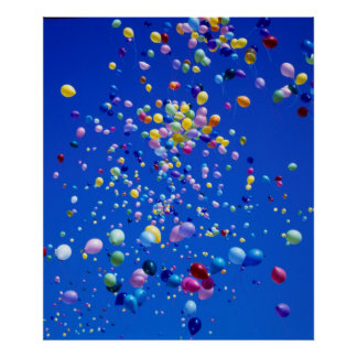 flying multicolored ballons in the blue sky, poster