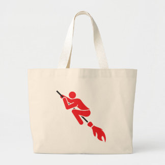 flying on the magic broom large tote bag