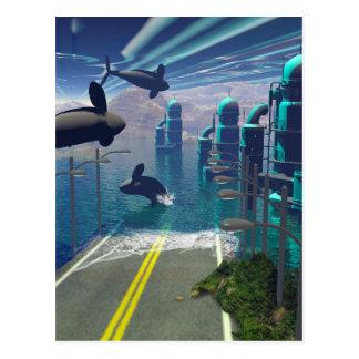 Flying orcas postcard