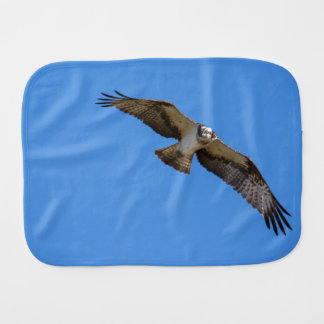 Flying osprey with a target in sight burp cloth