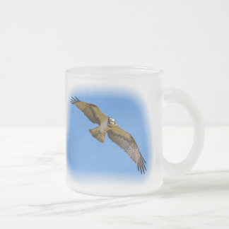 Flying osprey with a target in sight frosted glass coffee mug