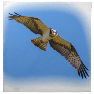 Flying osprey with a target in sight napkin