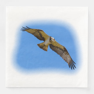 Flying osprey with a target in sight paper napkins