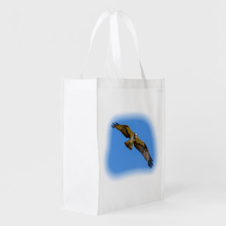 Flying osprey with a target in sight reusable grocery bag