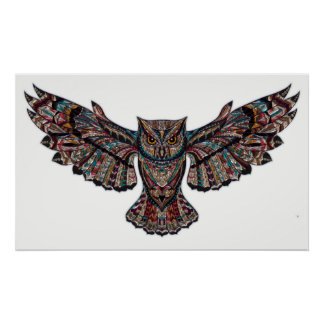 Flying owl stained glass wall poster decoration