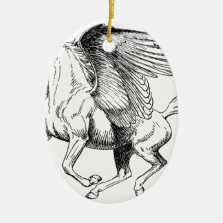 flying Pegasus Ceramic Oval Ornament