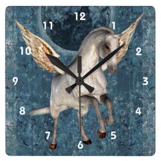 Flying Pegasus Horse Fantasy Art Square Wall Clock
