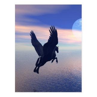 Flying Pegasus in Blue Sky Postcard