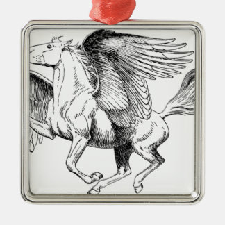 flying Pegasus Silver-Colored Square Ornament