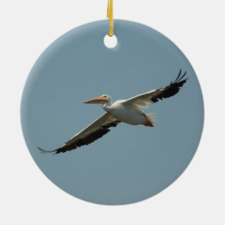 Flying Pelican 8 Ceramic Ornament