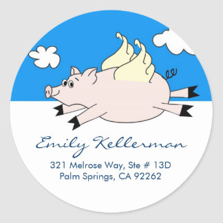 Flying Pig Address Labels Round Sticker