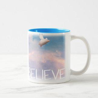 flying pig believe mug