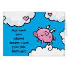 Flying pig birthday dreams card template