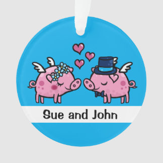 Flying pig bride and groom customisable ornament