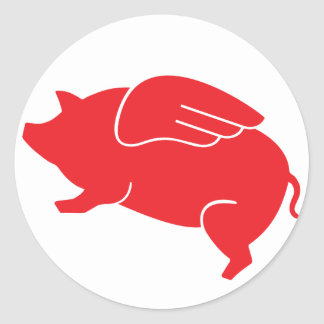 flying pig  🐷 classic round sticker