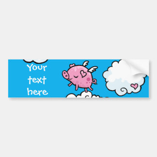 Flying pig clouds customisable bumper sticker