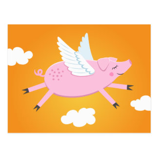 Flying pig cute cartoon postcard