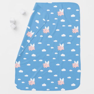 Flying Pig - Cute Piglet with Wings Baby Blanket