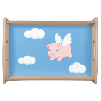 Flying Pig - Cute Piglet with Wings Serving Tray