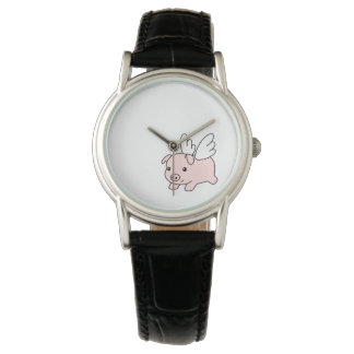 Flying Pig - Cute Piglet with Wings Wrist Watches