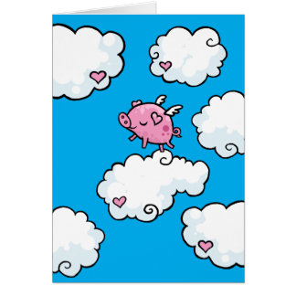 Flying pig dances on clouds card