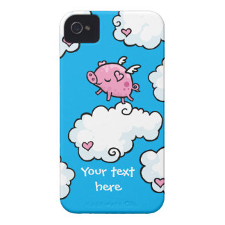 Flying pig dances on clouds iPhone 4 case