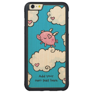 Flying Pig Dances on Clouds Customisable Carved® Maple iPhone 6 Plus Bumper Case