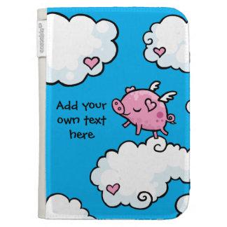 Flying Pig Dances on Clouds Customisable Kindle Folio Case