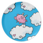 Flying pig dances on clouds plate