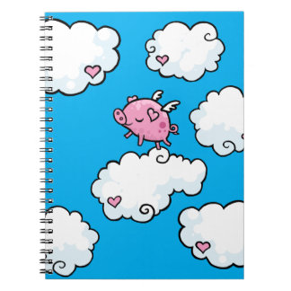 Flying pig dances on clouds spiral note book