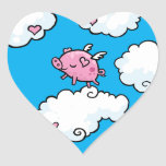 Flying pig dances on clouds sticker