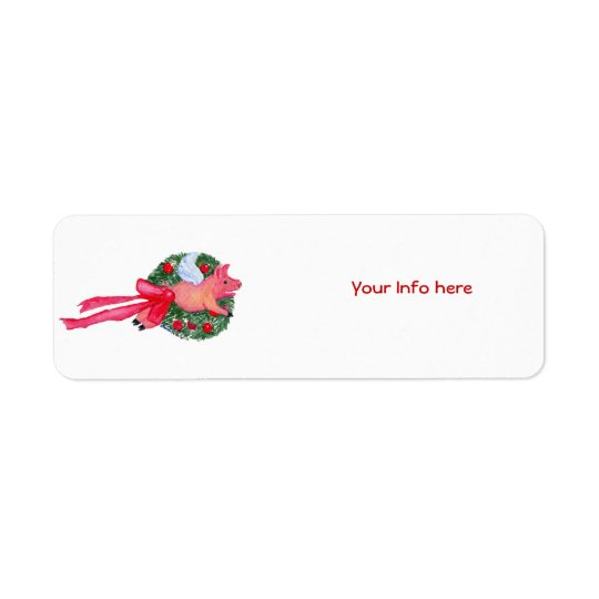 Flying Pig Dragging Christmas Wreath Label