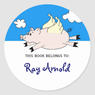 Flying Pig Fish Bookplates Classic Round Sticker