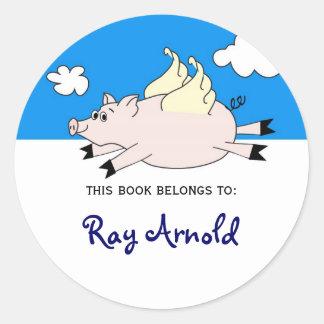Flying Pig Fish Bookplates Round Sticker