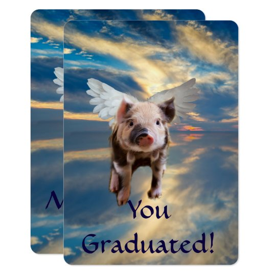 Flying Pig Funny Graduation Card