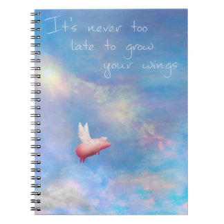 Flying Pig-Grow Your Wings Spiral Note Books